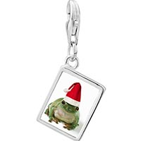 Link Charm Bracelet - 925  sterling silver santa frog photo rectangle frame link charm Image.