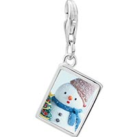 Link Charm Bracelet - 925  sterling silver snowman with christmas tree photo rectangle frame link charm Image.