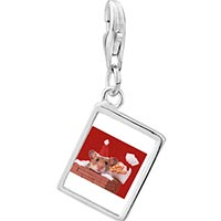Link Charm Bracelet - 925  sterling silver santa claus mouse photo rectangle frame link charm Image.