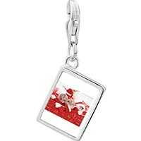 Link Charm Bracelet - 925  sterling silver three christmas mice photo rectangle frame link charm Image.