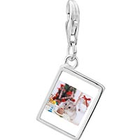 Link Charm Bracelet - 925  sterling silver mouse christmas party photo rectangle frame link charm Image.