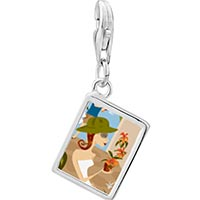 Link Charm Bracelet - 925  sterling silver flower shopping photo rectangle frame link charm Image.