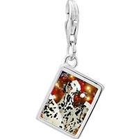 Link Charm Bracelet - 925  sterling silver christmas dalmatian dogs photo rectangle frame link charm Image.