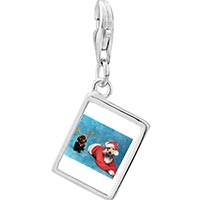 Link Charm Bracelet - 925  sterling silver santa and christmas rudolph reindeer dogs photo rectangle frame link charm Image.