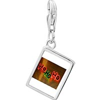 Link Charm Bracelet - 925  sterling silver ho ho ho christmas lights photo rectangle frame link charm Image.