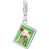 Link Charm Bracelet - 925  sterling silver pig photo rectangle frame link charm Image.