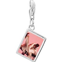Link Charm Bracelet - 925  sterling silver martial art photo rectangle frame link charm Image.