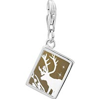 Link Charm Bracelet - 925  sterling silver christmas rudolph reindeer in the snow photo rectangle frame link charm Image.