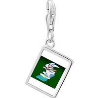Link Charm Bracelet - 925  sterling silver snowboard bunny photo rectangle frame link charm Image.