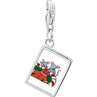 Link Charm Bracelet - 925  sterling silver mice eating gingerbread man cookie photo rectangle frame charm pendant with lobster clasp for charms bracelet or necklace Image.