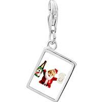 Link Charm Bracelet - 925  sterling silver champagne santa photo rectangle frame link charm Image.