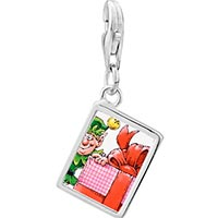 Link Charm Bracelet - 925  sterling silver santa gift helper photo rectangle frame link charm Image.