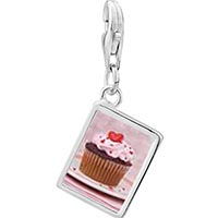 Link Charm Bracelet - 925  sterling silver heart topped cupcake photo rectangle frame link charm Image.