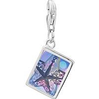 Link Charm Bracelet - 925  sterling silver christmas star photo rectangle frame link charm Image.