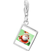 Link Charm Bracelet - 925  sterling silver waving santa claus photo rectangle frame link charm Image.