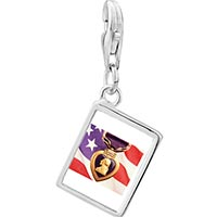 Link Charm Bracelet - 925  sterling silver american flag purple heart photo rectangle frame link charm Image.