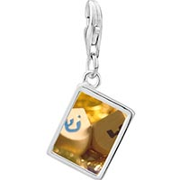 Link Charm Bracelet - 925  sterling silver hanukkah holiday dreidel photo rectangle frame link charm Image.