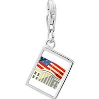 Link Charm Bracelet - 925  sterling silver american flag whitehouse photo rectangle frame link charm Image.