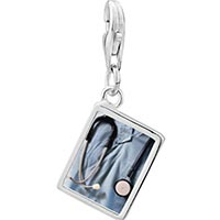 Link Charm Bracelet - 925  sterling silver heart stethoscope photo rectangle frame link charm Image.