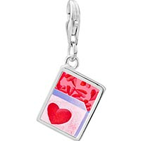Link Charm Bracelet - 925  sterling silver pink love box photo rectangle frame link charm Image.