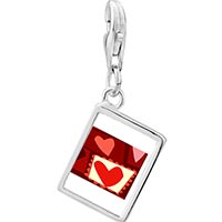 Link Charm Bracelet - 925  sterling silver paper cutout hearts photo rectangle frame link charm Image.