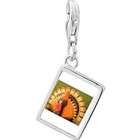 Link Charm Bracelet - 925  sterling silver thanksgiving candy turkey photo rectangle frame link charm Image.