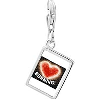 Link Charm Bracelet - 925  sterling silver burning with love heart photo rectangle frame link charm Image.