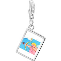 Link Charm Bracelet - 925  sterling silver cupid with golden bow photo rectangle frame link charm Image.