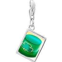 Link Charm Bracelet - 925  sterling silver ireland shamrock hat photo rectangle frame link charm Image.