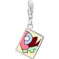 Link Charm Bracelet - 925  sterling silver love heart puzzle photo rectangle frame link charm Image.
