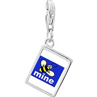Link Charm Bracelet - 925  sterling silver bee mine photo rectangle frame link charm Image.