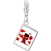 Link Charm Bracelet - 925  sterling silver cupid with hearts photo rectangle frame link charm Image.