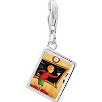 Link Charm Bracelet - 925  sterling silver teacher using blackboard photo rectangle frame link charm Image.