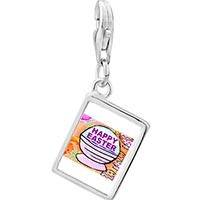 Link Charm Bracelet - 925  sterling silver happy easter basket photo rectangle frame link charm Image.