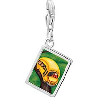 Link Charm Bracelet - 925  sterling silver yellow school bus photo rectangle frame link charm Image.