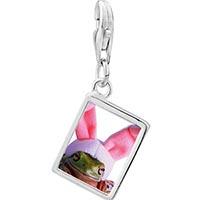 Link Charm Bracelet - 925  sterling silver bunny frog photo rectangle frame link charm Image.