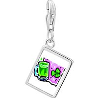 Link Charm Bracelet - 925  sterling silver green beer broochphoto rectangle frame link charm Image.