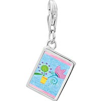 Link Charm Bracelet - 925  sterling silver pink tulip flower photo rectangle frame link charm Image.