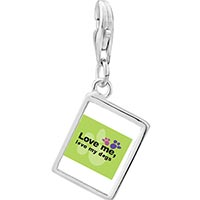 Link Charm Bracelet - 925  sterling silver love me love my dogs photo rectangle frame link charm Image.