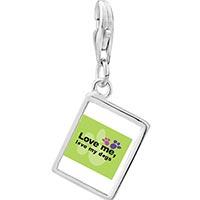 Link Charm Bracelet - 925  sterling silver love me love my dogs photo rectangle frame link charm Image.