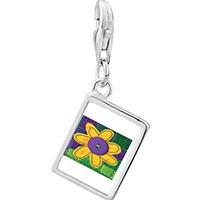 Link Charm Bracelet - 925  sterling silver quilted flower photo rectangle frame link charm Image.