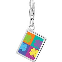 Link Charm Bracelet - 925  sterling silver colorful four leaf clovers photo rectangle frame link charm Image.