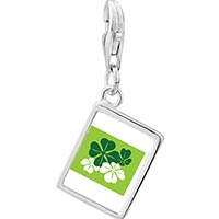 Link Charm Bracelet - 925  sterling silver green four leaf clovers photo rectangle frame link charm Image.