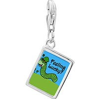 Link Charm Bracelet - 925  sterling silver feeling lucky caterpiller photo rectangle frame link charm Image.