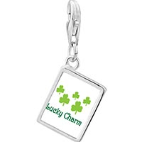 Link Charm Bracelet - 925  sterling silver lucky cloversphoto rectangle frame link charm Image.