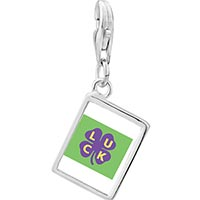 Link Charm Bracelet - 925  sterling silver luck on a purple clover photo rectangle frame link charm Image.