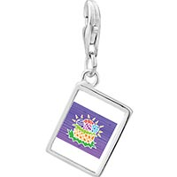 Link Charm Bracelet - 925  sterling silver egg basket photo rectangle frame link charm Image.