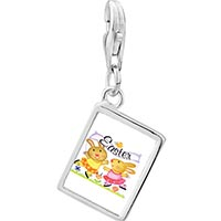 Link Charm Bracelet - 925  sterling silver bunnies photo rectangle frame link charm Image.