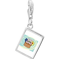Link Charm Bracelet - 925  sterling silver bunnies in a basket photo rectangle frame link charm Image.