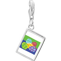 Link Charm Bracelet - 925  sterling silver colorful eggs photo rectangle frame link charm Image.